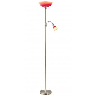 EGLO 86654 | UP4 Eglo álló lámpa 178cm vezeték kapcsoló 1x E27 + 1x E14 matt nikkel, piros, narancs