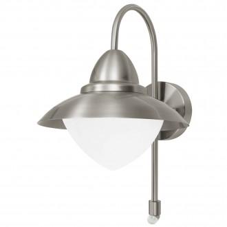 EGLO 87105 | Sidney Eglo fali lámpa mozgásérzékelő 1x E27 IP44 nemesacél, rozsdamentes acél, szatén