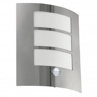 EGLO 88142 | City Eglo fali lámpa mozgásérzékelő 1x E27 IP44 nemesacél, rozsdamentes acél, fehér