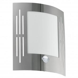 EGLO 88144 | City Eglo fali lámpa mozgásérzékelő 1x E27 IP44 nemesacél, rozsdamentes acél, fehér