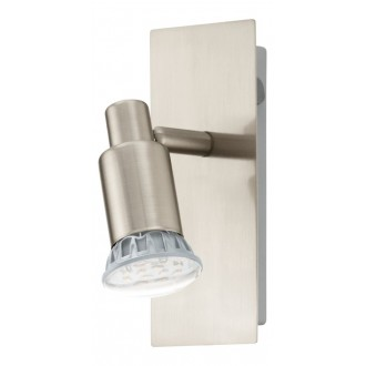 EGLO 90822 | Eridan Eglo fali lámpa kapcsoló elforgatható alkatrészek 1x GU10 400lm 3000K matt nikkel