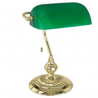 EGLO 90967 | Banker Eglo asztali lámpa 39cm húzókapcsoló 1x E27 réz, zöld