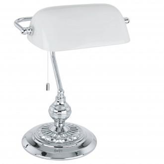 EGLO 90968 | Banker Eglo asztali lámpa 39cm húzókapcsoló 1x E27 króm, fehér