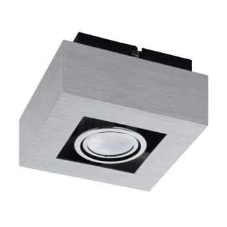EGLO 91352 | Loke1 Eglo fali, mennyezeti lámpa elforgatható fényforrás 1x GU10 400lm 3000K csiszolt alumínium, fekete