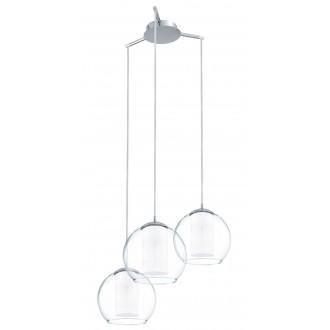 EGLO 92762 | Bolsano Eglo függeszték lámpa 3x E27 króm, átlátszó, fehér