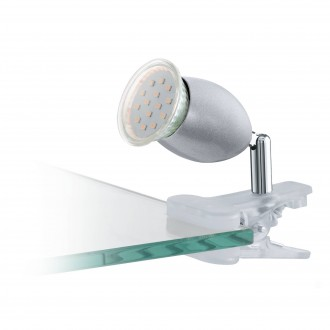EGLO 93119 | Banny-1 Eglo csiptetős lámpa vezeték kapcsoló 1x GU10 240lm 3000K ezüst, króm, fehér