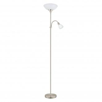 EGLO 93207 | Up-LED Eglo álló lámpa 178cm vezeték kapcsoló flexibilis 1x E27 470lm + 1x E14 320lm 3000K matt nikkel, fehér