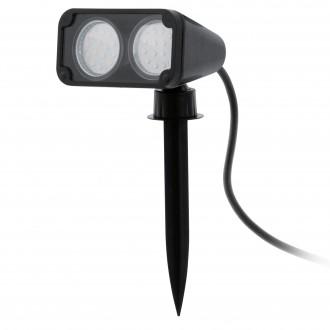 EGLO 93385 | Nema_1 Eglo leszúrható lámpa villásdugó - kapcsoló nélkül elforgatható alkatrészek 2x GU10 400lm 3000K IP44 fekete, átlátszó