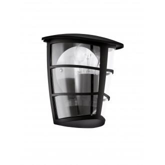 EGLO 93407 | Aloria Eglo fali lámpa 1x E27 IP44 fekete, áttetsző