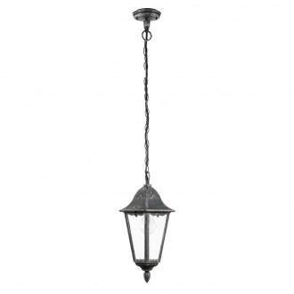 EGLO 93455 | Navedo Eglo függeszték lámpa 1x E27 IP44 fekete, antikolt ezüst, áttetsző