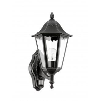EGLO 93458 | Navedo Eglo fali lámpa mozgásérzékelő 1x E27 IP44 fekete, antikolt ezüst, átlátszó