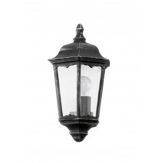 EGLO 93459 | Navedo Eglo fali lámpa 1x E27 IP44 fekete, antikolt ezüst, áttetsző
