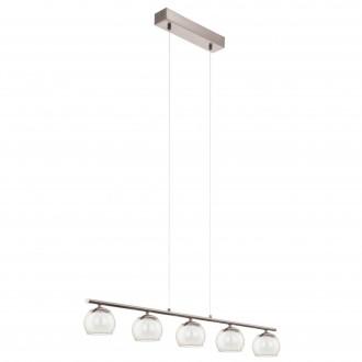 EGLO 94319   Romagnese Eglo függeszték lámpa 5x LED 1700lm 3000K matt nikkel, fehér, átlátszó