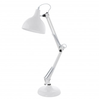 EGLO 94699   Borgillio Eglo asztali lámpa 71cm vezeték kapcsoló elforgatható alkatrészek 1x E27 fehér, fekete