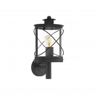 EGLO 94842 | Hilburn Eglo falikar lámpa 1x E27 IP44 fekete, áttetsző