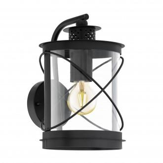 EGLO 94843 | Hilburn Eglo falikar lámpa 1x E27 IP44 fekete, áttetsző