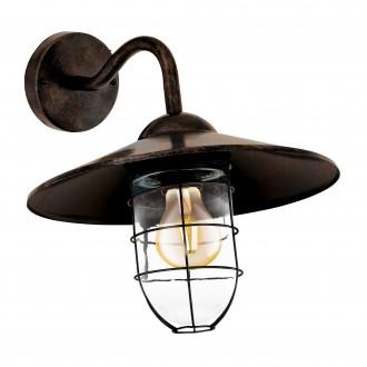 EGLO 94863 | Melgoa Eglo falikar lámpa 1x E27 IP44 antik vörösréz, áttetsző