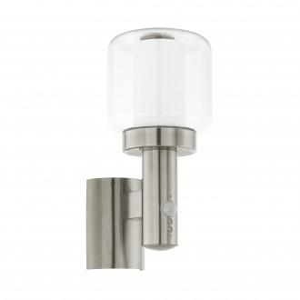 EGLO 95017 | Poliento Eglo fali lámpa mozgásérzékelő 1x E27 IP44 nemesacél, rozsdamentes acél, átlátszó, fehér