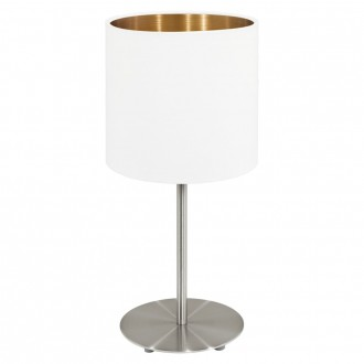 EGLO 95048 | Eglo-Pasteri-WHC Eglo asztali lámpa 40cm vezeték kapcsoló 1x E27 matt fehér, sárgaréz, matt nikkel
