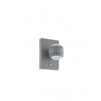 EGLO 96019 | Sesimba Eglo fali lámpa mozgásérzékelő, fényérzékelő szenzor - alkonykapcsoló 2x LED 560lm 3000K IP44 ezüst, áttetsző