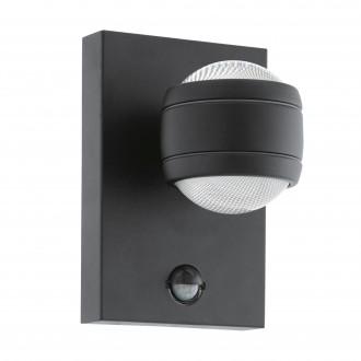 EGLO 96021 | Sesimba Eglo fali lámpa mozgásérzékelő, fényérzékelő szenzor - alkonykapcsoló 2x LED 560lm 3000K IP44 fekete, áttetsző