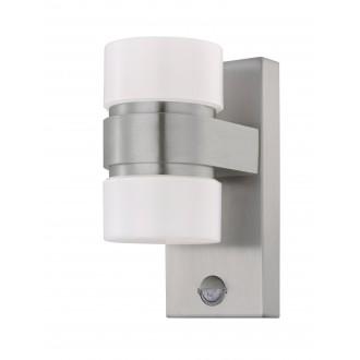 EGLO 96277 | Atollari Eglo fali lámpa mozgásérzékelő 2x LED 1000lm 3000K IP44 nemesacél, rozsdamentes acél, ezüst, fehér
