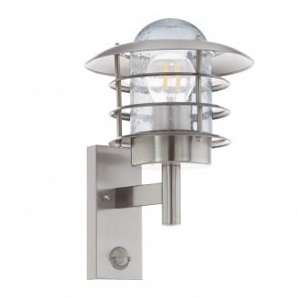 EGLO 96402 | Mouna Eglo fali lámpa mozgásérzékelő 1x E27 IP44 nemesacél, rozsdamentes acél, átlátszó