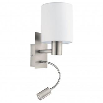 EGLO 96477 | Eglo-Pasteri-W Eglo fali lámpa kapcsoló flexibilis 1x E27 + 1x LED 380lm matt fehér, matt nikkel