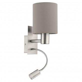 EGLO 96478 | Eglo-Pasteri-T Eglo falikar lámpa kapcsoló flexibilis 1x E27 + 1x LED 380lm matt taupe, fehér, matt nikkel