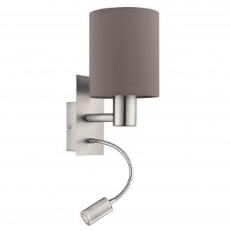 EGLO 96481 | Eglo-Pasteri-A Eglo falikar lámpa kapcsoló flexibilis 1x E27 + 1x LED 380lm matt barna, fehér, matt nikkel