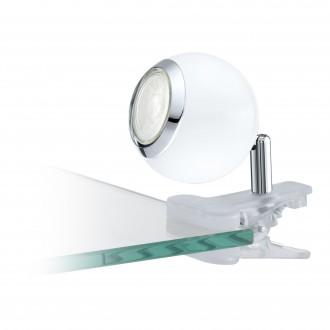 EGLO 96839 | Bimeda Eglo csiptetős lámpa vezeték kapcsoló elforgatható alkatrészek 1x GU10 240lm 3000K fehér, króm