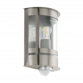 EGLO 97284 | Tribano Eglo fali lámpa mozgásérzékelő, fényérzékelő szenzor - alkonykapcsoló 1x E27 IP44 nemesacél, rozsdamentes acél, áttetsző