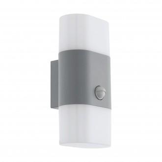 EGLO 97313 | Favria1 Eglo fali lámpa mozgásérzékelő 2x LED 1200lm 3000K IP44 ezüst, fehér