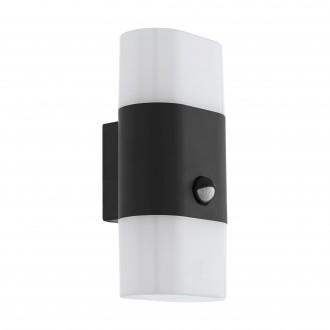 EGLO 97314 | Favria1 Eglo fali lámpa mozgásérzékelő 2x LED 1200lm 3000K IP44 antracit, fehér