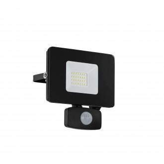 EGLO 97461 | Faedo Eglo fényvető lámpa mozgásérzékelő, fényérzékelő szenzor - alkonykapcsoló elforgatható alkatrészek 1x LED 1800lm 4000K IP44 fekete, átlátszó