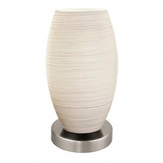 EGLO 97589   Batista-3 Eglo asztali lámpa 22,5cm vezeték kapcsoló 1x E27 matt nikkel, fehér