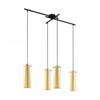 EGLO 97653   Pinto-Gold Eglo függeszték lámpa 4x E27 fekete, áttetsző, arany