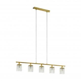 EGLO 97723 | Pyton-Gold Eglo függeszték lámpa 5x G9 1800lm 3000K arany, átlátszó