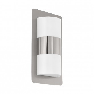 EGLO 98085 | Cistierna Eglo fali lámpa 2x E27 IP44 nemesacél, rozsdamentes acél, fehér