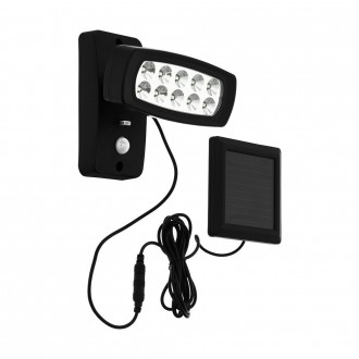 EGLO 98187 | Palizzi Eglo falikar lámpa mozgásérzékelő napelemes/szolár, elforgatható alkatrészek 1x LED 150lm 3000K IP44 fekete, áttetsző