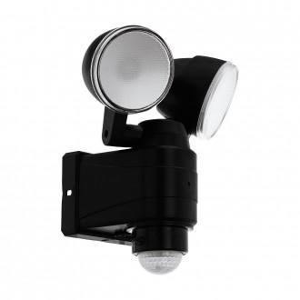 EGLO 98189 | Casabas Eglo falikar lámpa mozgásérzékelő elemes/akkus, elforgatható alkatrészek 2x LED 800lm 6500K IP44 fekete, szatén