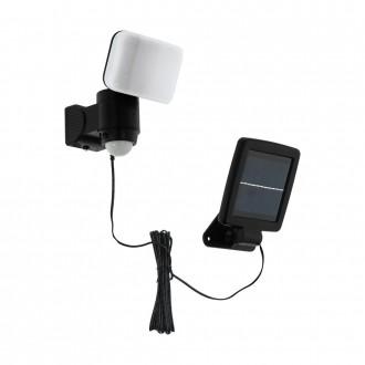 EGLO 98195 | Casabas Eglo falikar lámpa mozgásérzékelő napelemes/szolár, elforgatható alkatrészek 1x LED 470lm 6500K IP44 fekete, fehér