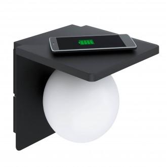 EGLO 98265 | Ciglie Eglo fali lámpa vezeték kapcsoló Qi telefon töltő, mobil töltő (vezeték nélküli) 1x E14 fekete, opál