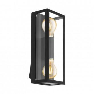 EGLO 98273 | Alamonte Eglo fali lámpa téglatest 2x E27 IP44 fekete, áttetsző