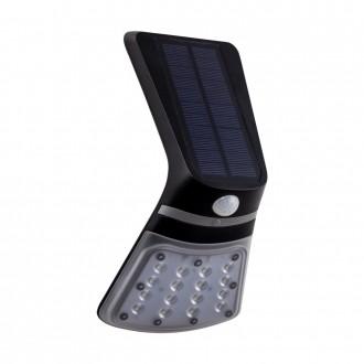 EGLO 98758 | Lamozzo Eglo fali lámpa mozgásérzékelő, fényérzékelő szenzor - alkonykapcsoló napelemes/szolár, irányfény 1x LED 264lm 4000/3000K IP44 fekete, átlátszó