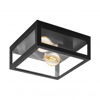EGLO 99122 | Amezola Eglo fali, mennyezeti lámpa 2x E27 IP44 fekete, átlátszó