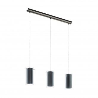 EGLO 99286   Pinto-Textil Eglo függeszték lámpa 3x E27 szatén nikkel, átlátszó, szürke