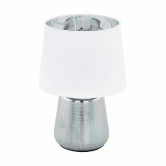 EGLO 99329 | Manalba-1 Eglo asztali lámpa 30cm vezeték kapcsoló 1x E14 ezüst, fehér