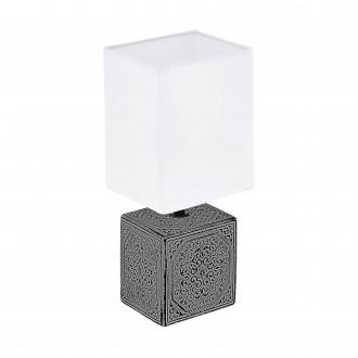 EGLO 99333 | Mataro-1 Eglo asztali lámpa 30cm vezeték kapcsoló 1x E14 antikolt fekete, fehér