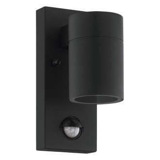 EGLO 99571 | Riga-5 Eglo falikar lámpa henger mozgásérzékelő 1x GU10 240lm 3000K IP44 fekete, átlátszó
